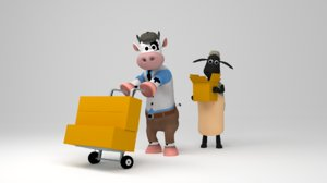 3D funny cow sheep carrying model