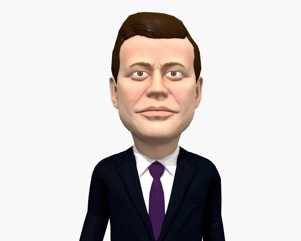 3D caricature rig jfk model