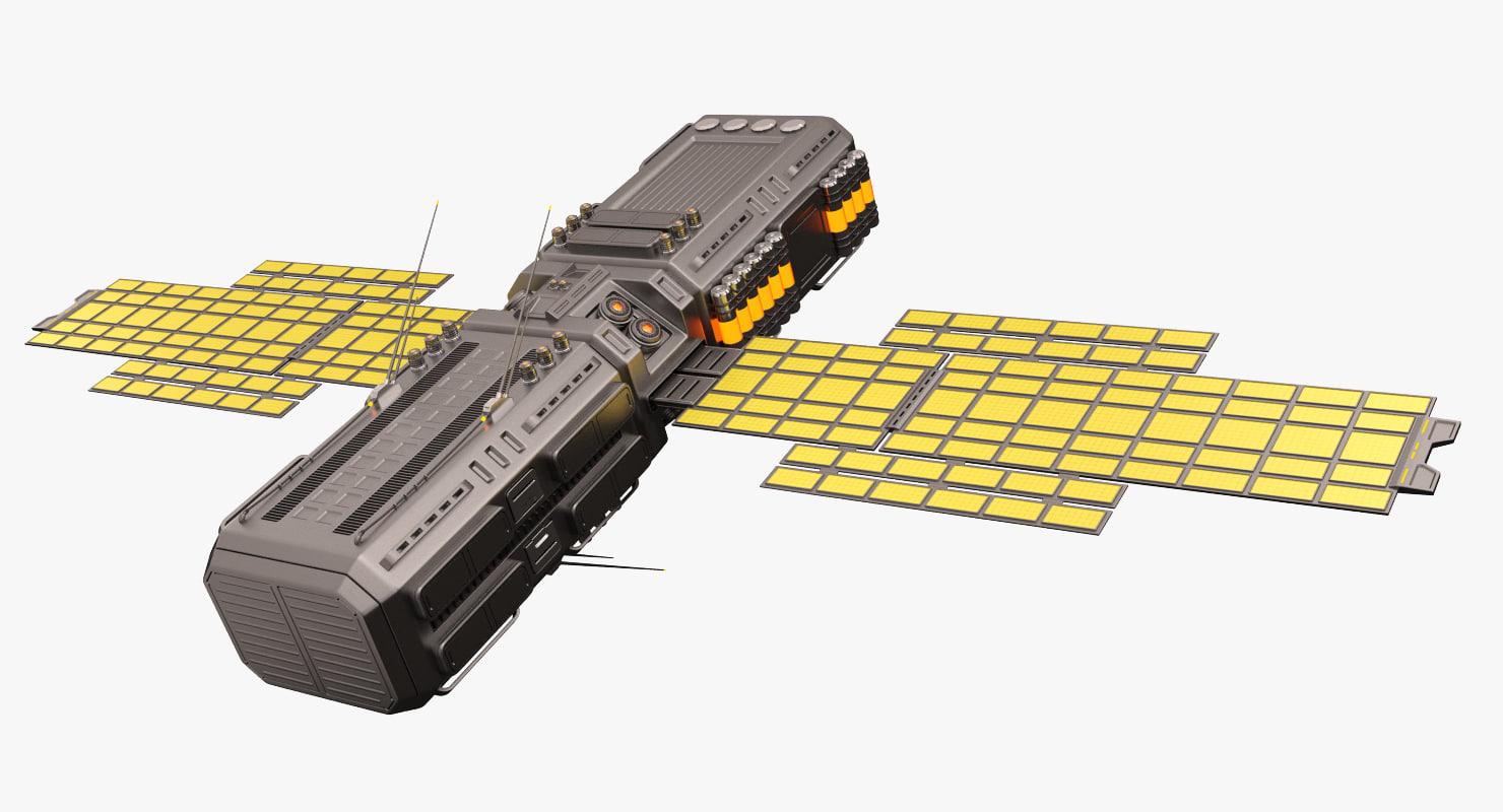 3D sci fi satellite 04