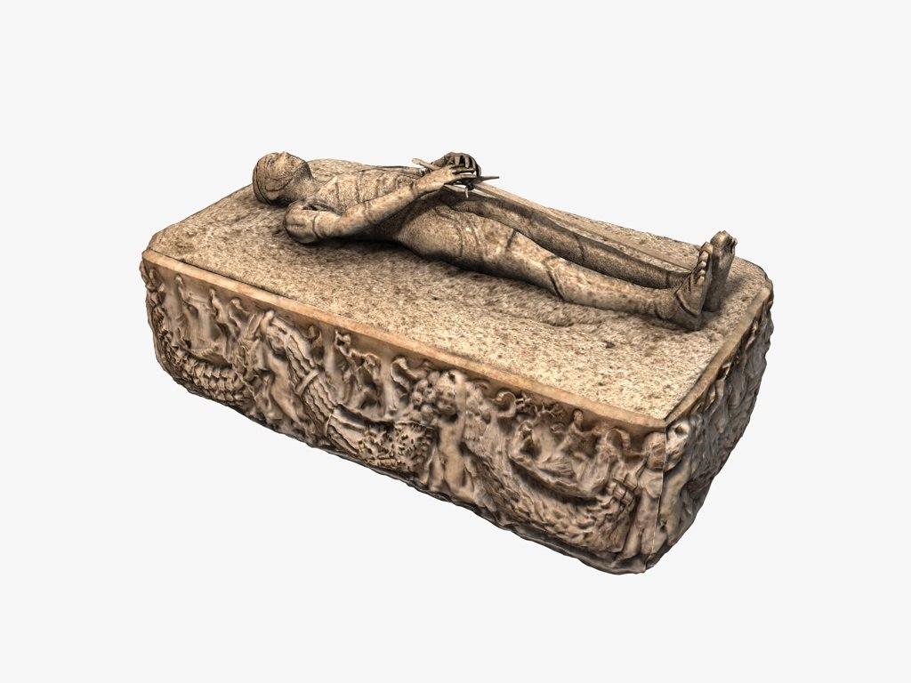 ancient stone medieval sarcophagus 3D model