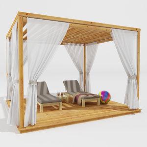 3D wooden pergola
