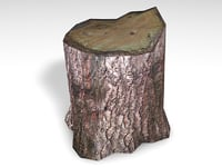 3D wood stump model