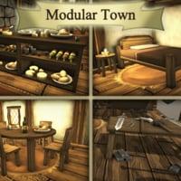 3D modular medieval town
