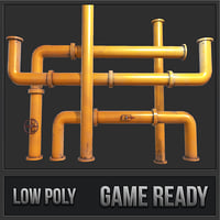 3D rusty pipes pbr model