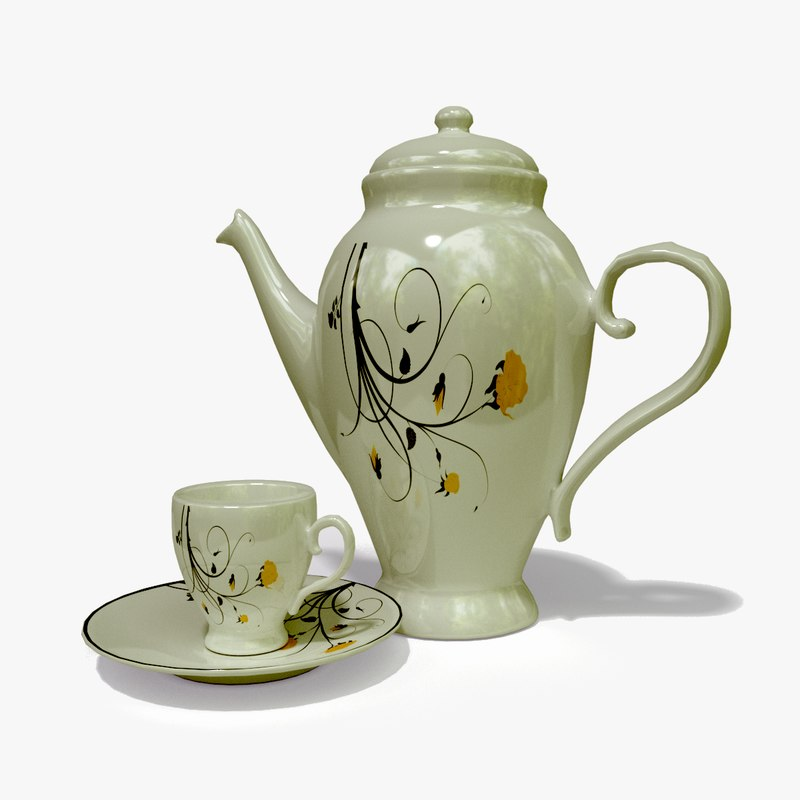 porcelain tea set polys model