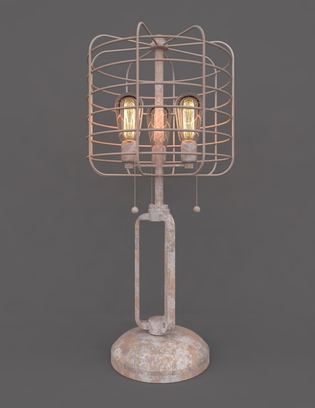 vintage table cage lamp 3D