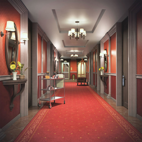 3D hotel corridor model