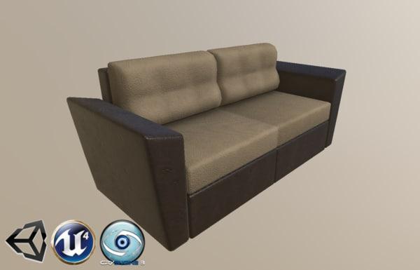 sofa leather textile 3D model