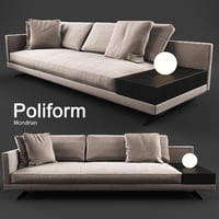 sofa mondrian poliform 3D model
