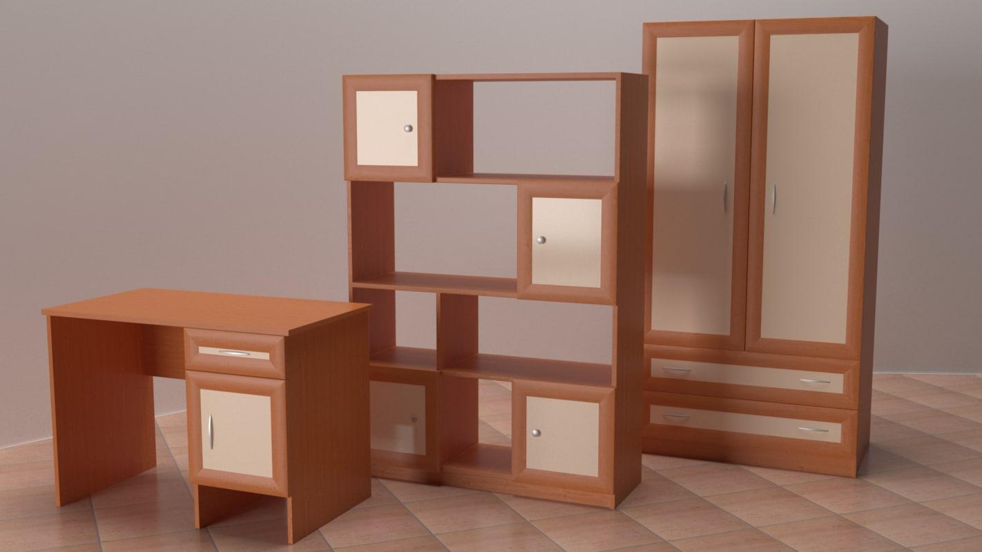 3D desk wardrobe shelving; 3D desk wardrobe shelving ... & 3D desk wardrobe shelving - TurboSquid 1178129