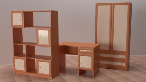 3D desk wardrobe shelving