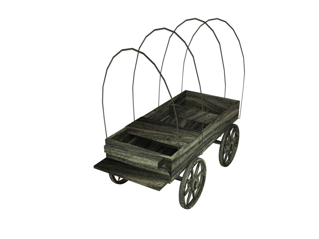 wood cart 3D