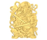 Chinese warrior swordsman bas relief for CNC