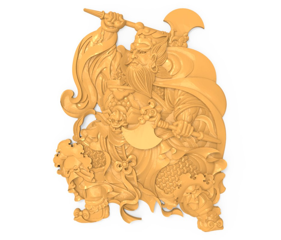 3D bas relief chinese warrior model