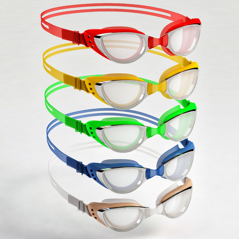 3D swim goggles colors set model