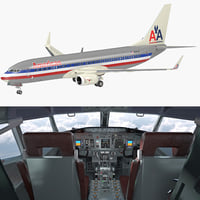 Boeing 737-800 with Interior American Airlines Rigged