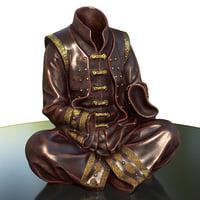3D vase shaulin monk