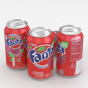 3D beverage fanta strawberry