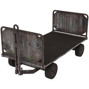 baggage cart 1 rusty 3D model