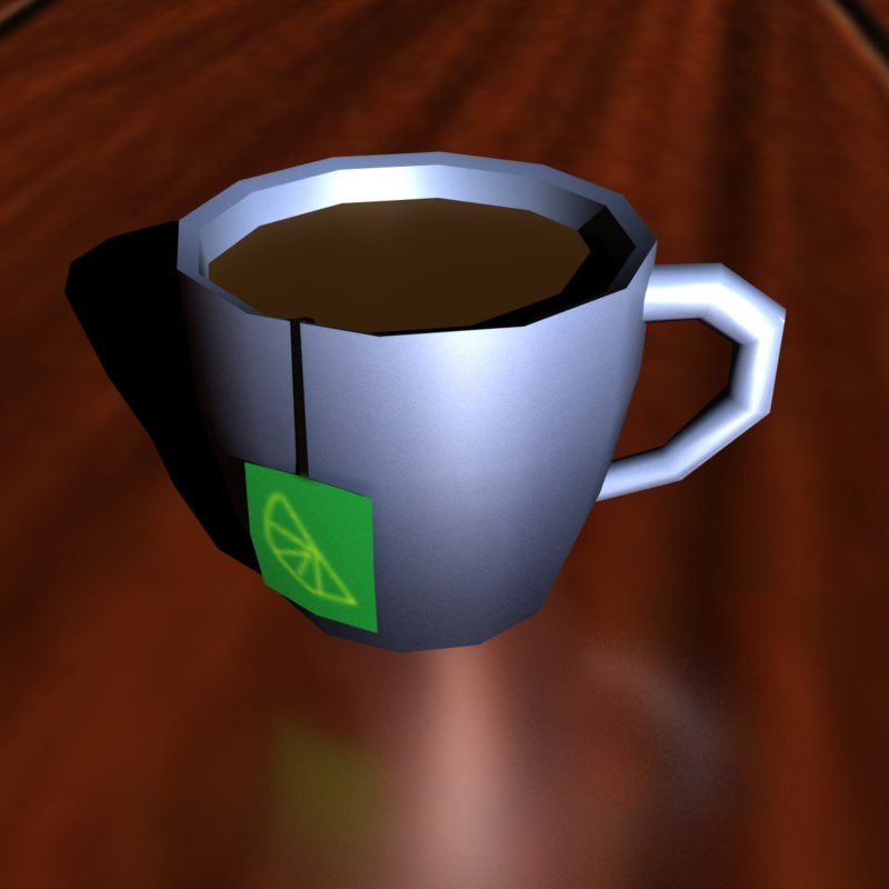 low-poly cup tea 3D model