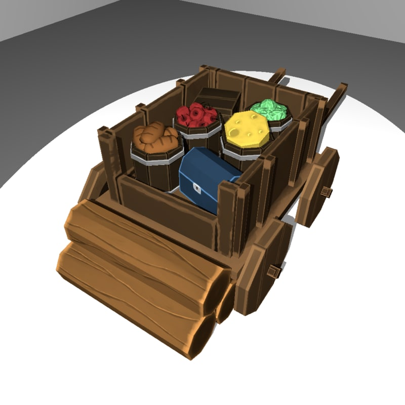 3D medieval chariot