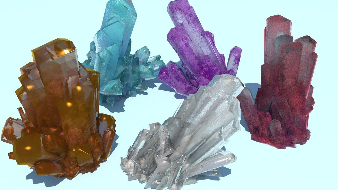 realistic various crystals model