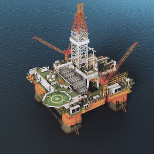 3D semi submersible oil rig
