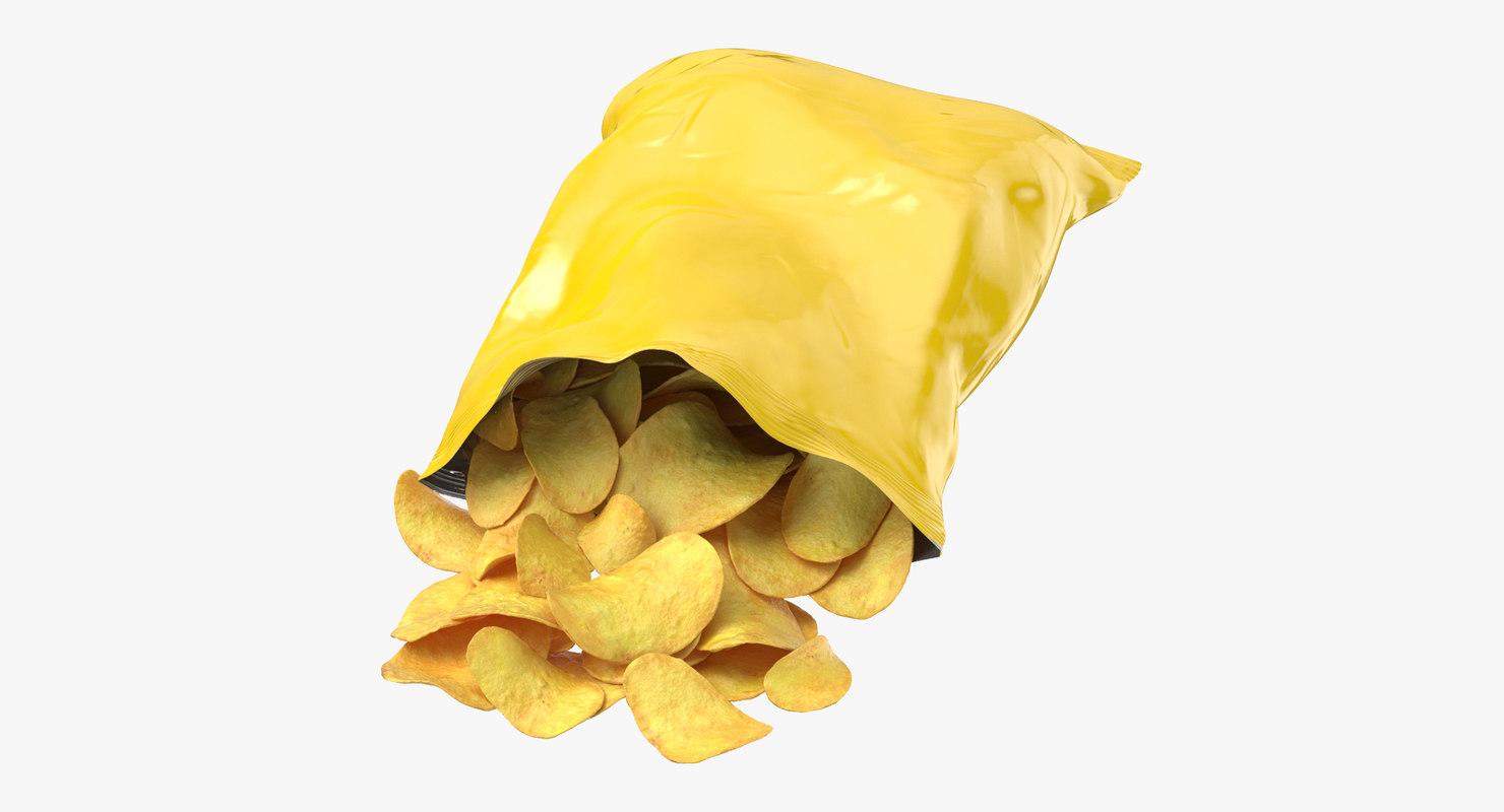3D potato chips bag open