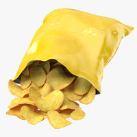 3D potato chips bag open