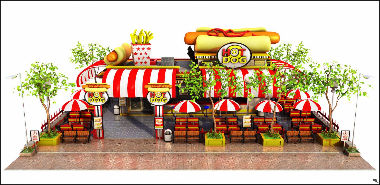 3D model restaurant hot dog