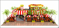 3D model restaurant hot dog