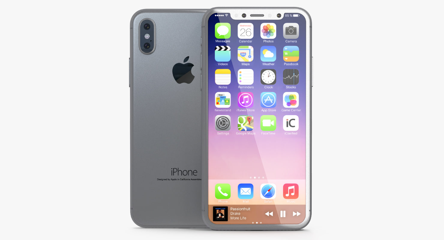 iphone 8 concept silver 3D