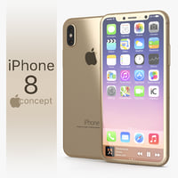 3D iphone 8 concept gold