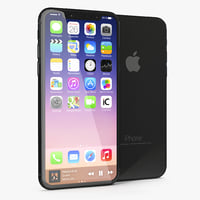 3D iphone 8 concept black model