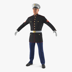 3D marine corps soldier parade model