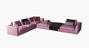 fabric corner sofa set 3D model