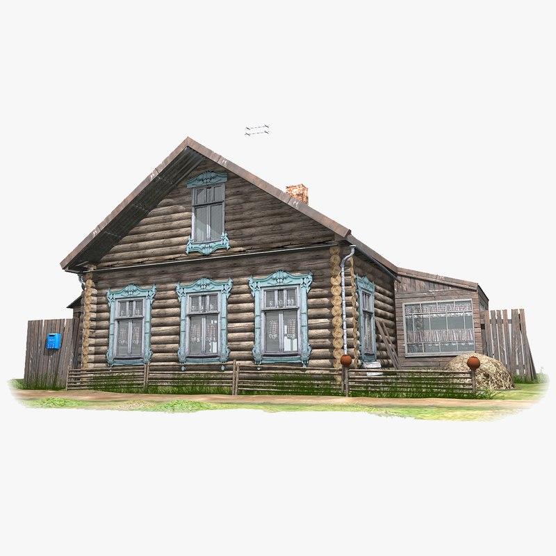 3D izba russian wooden house model
