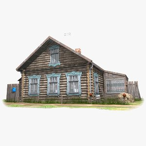 3D izba russian wooden house model