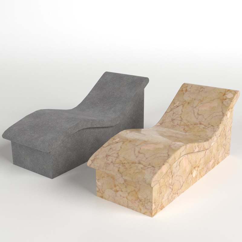wave benches stone marble 3D model