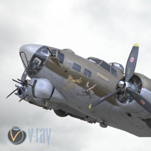 3D b-17 flying fortress bomber