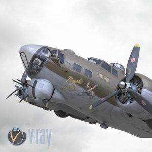 3D b-17 flying fortress bomber