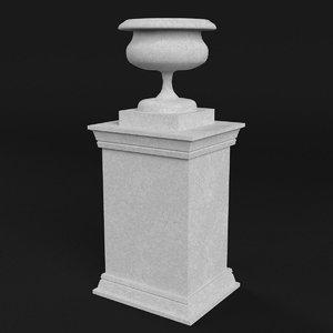 stone urn vase pedestal 3D model