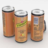 3D beverage schweppes citrus