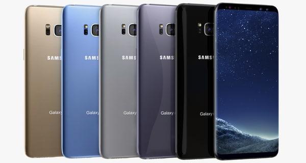 3D samsung galaxy s8 colors
