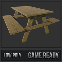 3D picnic park bench model