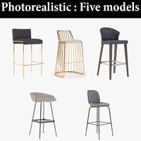 3D stool bar realistic