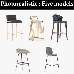 3D stool bar realistic