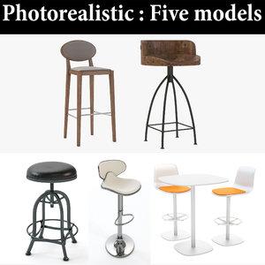 stool bar realistic 3D model