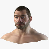 3D strong male head