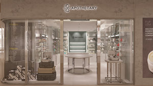 3D pharmacy store interior scene